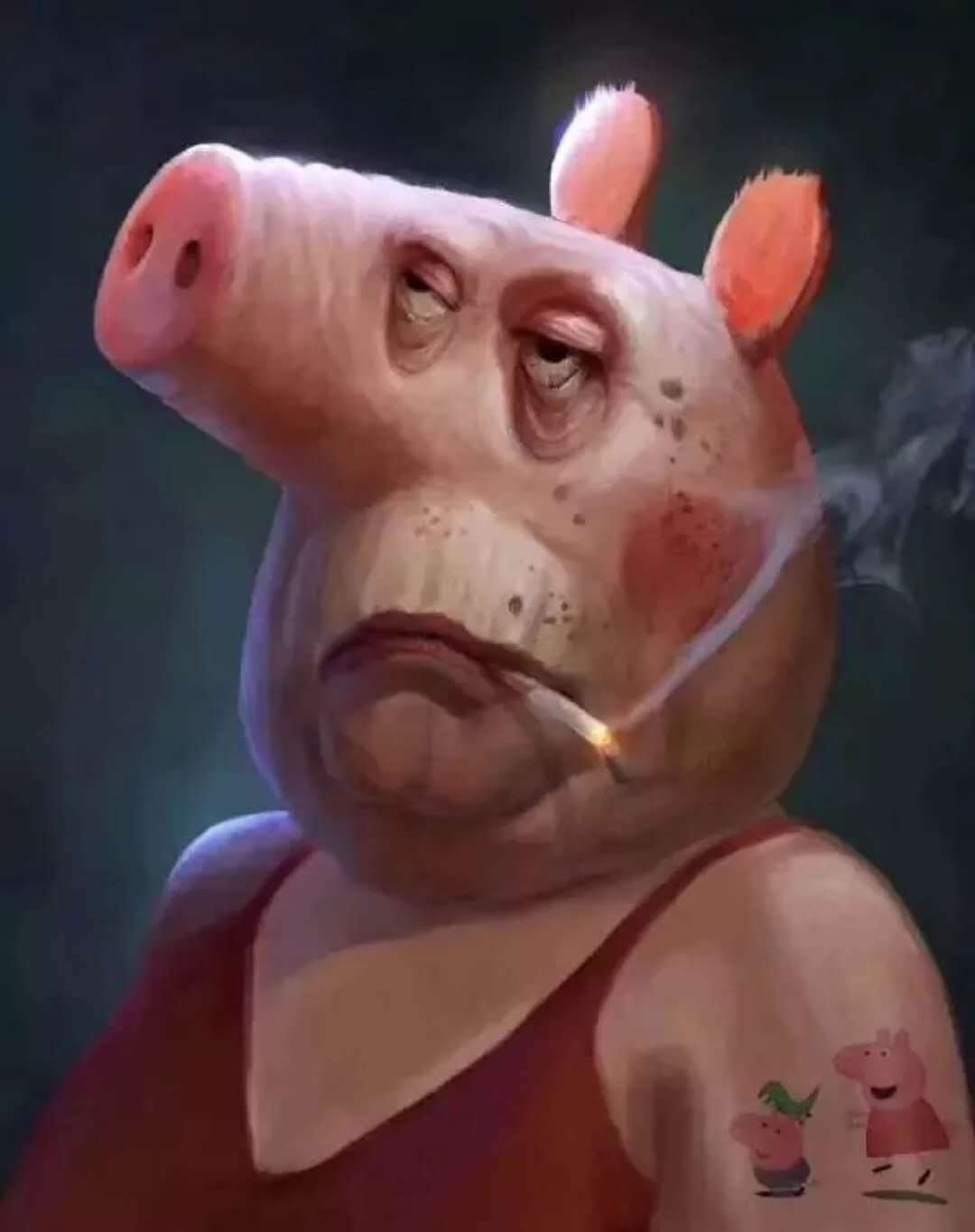 老猪佩奇抽烟表情